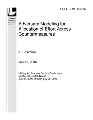 Primary view of object titled 'Adversary Modeling for Allocation of Effort Across Countermeasures'.
