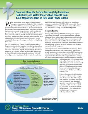 Primary view of object titled 'Economic Benefits, Carbon Dioxide (CO2) Emissions Reductions, and Water Conservation Benefits from 1000 Megawatts (MW) of New Wind Power in Ohio (Fact Sheet)'.