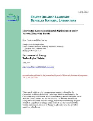 Primary view of object titled 'Distributed Generation Dispatch Optimization under VariousElectricity Tariffs'.