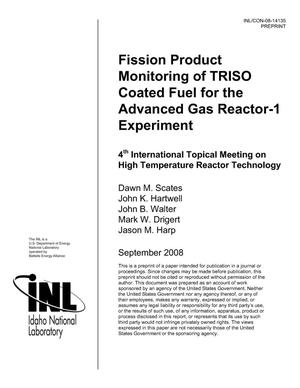 Primary view of object titled 'Fission Product Monitoring of TRISO Coated Fuel For The Advanced Gas Reactor -1 Experiment'.