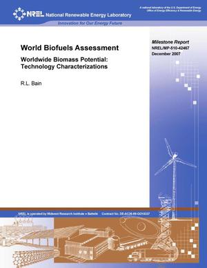 Primary view of object titled 'World Biofuels Assessment; Worldwide Biomass Potential: Technology Characterizations (Milestone Report)'.