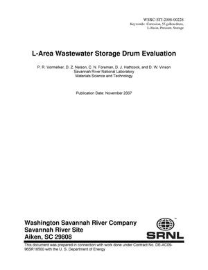Primary view of object titled 'L AREA WASTEWATER STORAGE DRUM EVALUATION'.