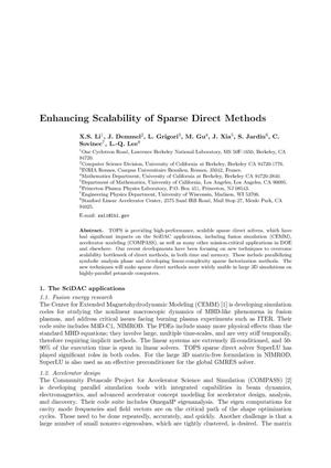 Primary view of object titled 'Enhancing Scalability of Sparse Direct Methods'.