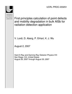 Primary view of object titled 'First principles calculation of point defects and mobility degradation in bulk AlSb for radiation detection application'.