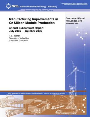 Primary view of object titled 'Manufacturing Improvements in Cz Silicon Module Production: Annual Subcontract Report, July 2005 -- October 2006'.