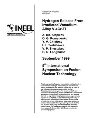 Primary view of object titled 'Hydrogen Release from Irradiated Vanadium Alloy V-4Cr-4Ti'.