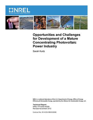 Primary view of object titled 'Opportunities and Challenges for Development of a Mature Concentrating Photovoltaic Power Industry (Revision)'.