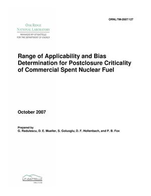 Primary view of object titled 'Range of Applicability and Bias Determination for Postclosure Criticality of Commercial Spent Nuclear Fuel'.