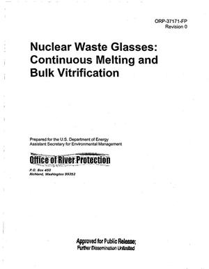 Primary view of object titled 'NUCLEAR WASTE GLASSES CONTINUOUS MELTING AND BULK VITRIFICAITON'.