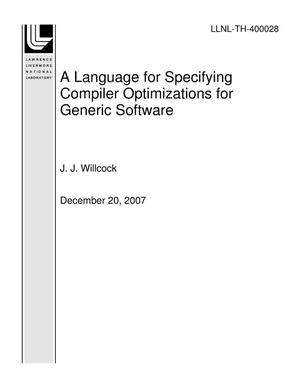 Primary view of object titled 'A Language for Specifying Compiler Optimizations for Generic Software'.