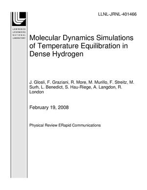 Primary view of object titled 'Molecular Dynamics Simulations of Temperature Equilibration in Dense Hydrogen'.