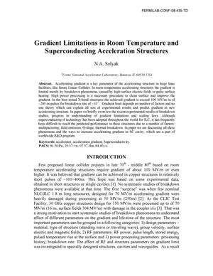 Primary view of object titled 'Gradient limitations in room temperature and superconducting acceleration structures'.