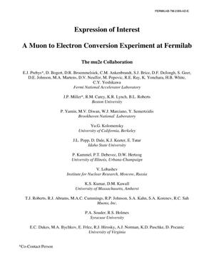 Primary view of object titled 'Expression of Interest: A Muon to Electron Conversion Experiment at Fermilab'.