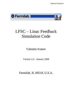 Primary view of object titled 'LFSC - Linac Feedback Simulation Code'.