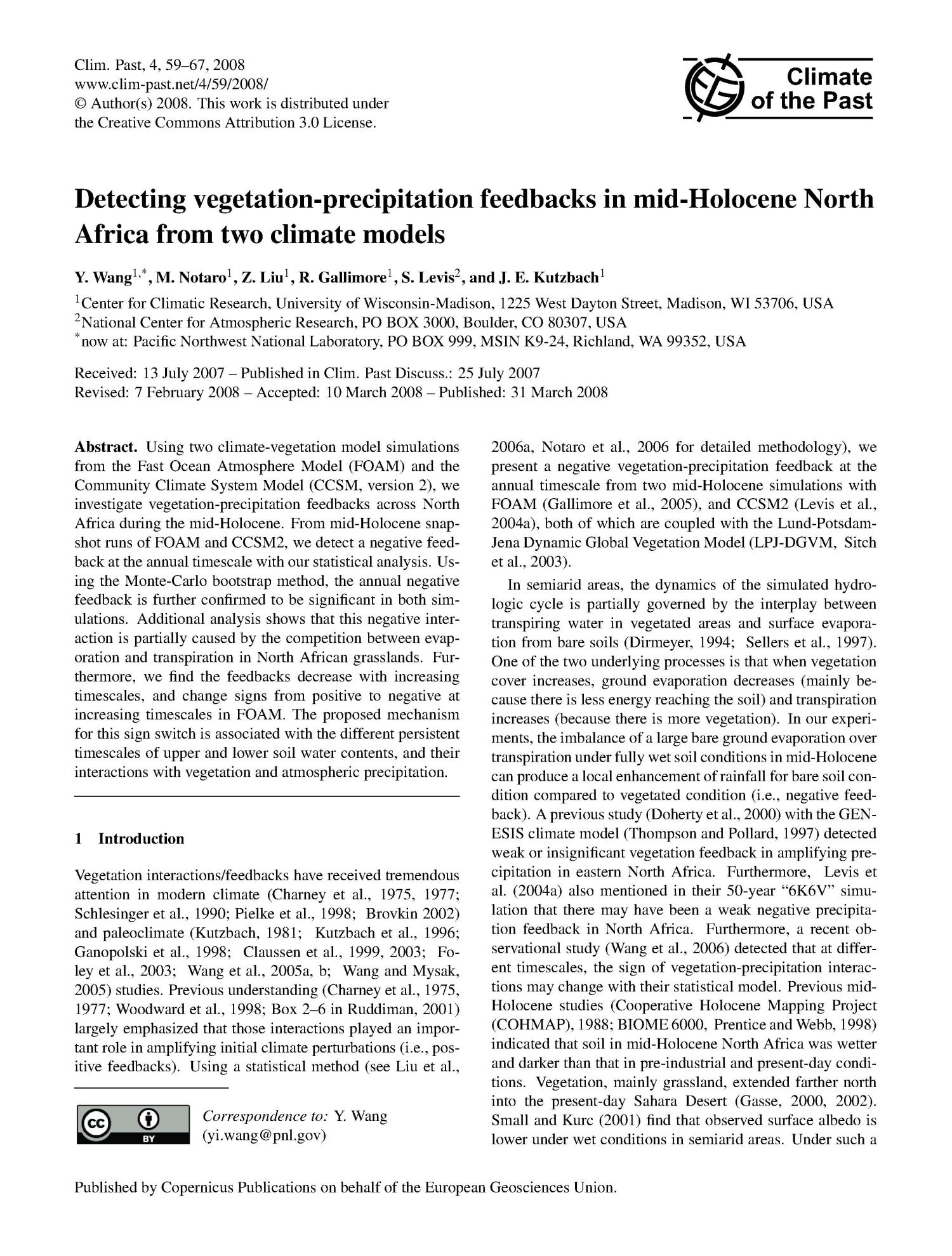 Detecting vegetation-precipitation feedbacks in mid-Holocene North Africa from two climate models                                                                                                      [Sequence #]: 1 of 9
