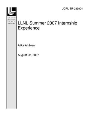 Primary view of object titled 'LLNL Summer 2007 Internship Experience'.