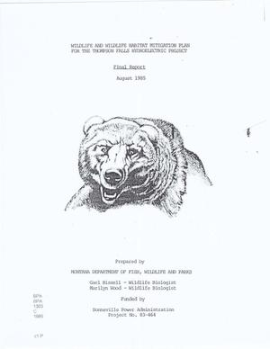 Primary view of object titled 'Wildlife and Wildlife Habitat Mitigation Plan for the Thompson Falls Hydroelectric Project, Final Report.'.