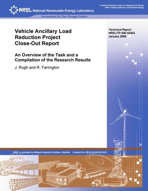 Primary view of object titled 'Vehicle Ancillary Load Reduction Project Close-Out Report: An Overview of the Task and a Compilation of the Research Results'.