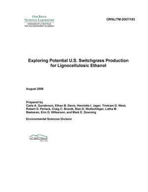 Primary view of object titled 'Exploring Potential U.S. Switchgrass Production for Lignocellulosic Ethanol'.