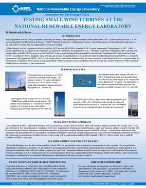 Primary view of object titled 'Testing Small Wind Turbines at the National Renewable Energy Laboratory (NREL) (Poster)'.