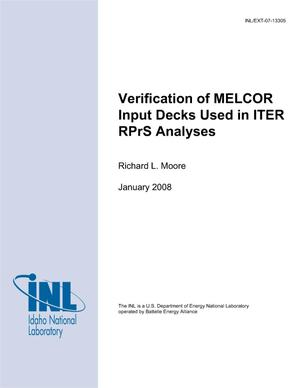 Primary view of object titled 'Verification of MELCOR Input Decks Used in ITER RPrS Analyses'.