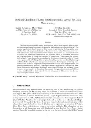 Primary view of object titled 'Optimal Chunking of Large Multidimensional Arrays for Data Warehousing'.