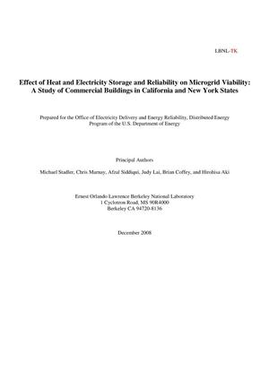 Primary view of object titled 'Effect of Heat and Electricity Storage and Reliability on Microgrid Viability:A Study of Commercial Buildings in California and New York States'.