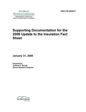 Primary view of object titled 'Supporting Documentation for the 2008 Update to the Insulation Fact Sheet'.