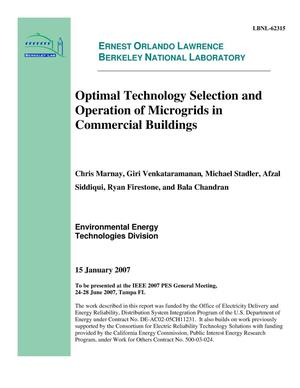 Primary view of object titled 'Optimal Technology Selection and Operation of Microgrids inCommercial Buildings'.