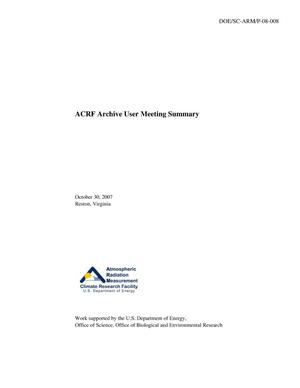 Primary view of object titled 'ACRF Archive User Meeting Summary'.
