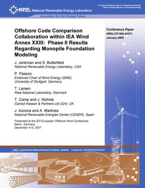 Primary view of object titled 'Offshore Code Comparison Collaboration within IEA Wind Annex XXIII: Phase II Results Regarding Monopile Foundation Modeling'.