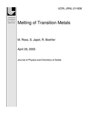 Primary view of object titled 'Melting of Transition Metals'.