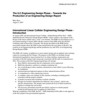Primary view of object titled 'The ILC engineering design phase: Towards the production of an engineering design report'.