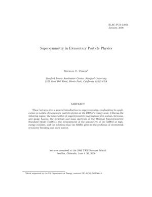 Primary view of object titled 'Supersymmetry in Elementary Particle Physics'.