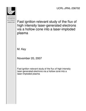 Primary view of object titled 'Fast ignition relevant study of the flux of high intensity laser-generated electrons via a hollow cone into a laser-imploded plasma'.