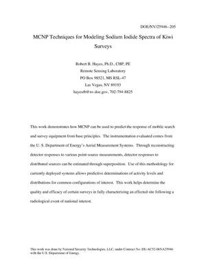 Primary view of object titled 'MCNP Techniques for Modeling Sodium Iodide Spectra of Kiwi Surveys'.