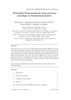 Primary view of object titled 'Primordial Nucleosynthesis: from precision cosmology to fundamental physics'.