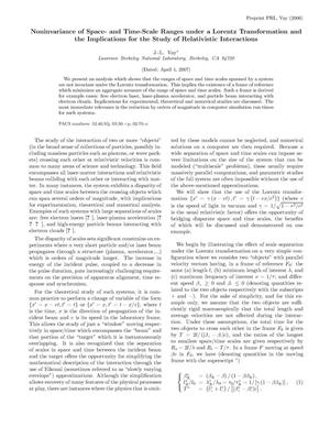 Primary view of object titled 'On the non-invariance of space and time scale ranges under Lorentztransformation, and its implications for the study of relativisticinteractions'.