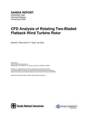 Primary view of object titled 'CFD analysis of rotating two-bladed flatback wind turbine rotor.'.