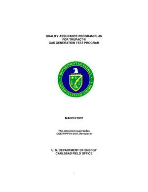 Primary view of object titled 'Quality Assurance Program Plan for TRUPACT-II Gas Generation Test Program'.