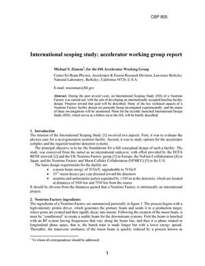 Primary view of object titled 'International scoping study: accelerator working group report'.