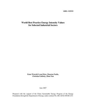 Primary view of object titled 'World Best Practice Energy Intensity Values for SelectedIndustrial Sectors'.