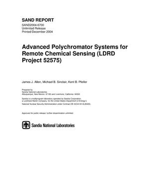 Primary view of object titled 'Advanced polychromator systems for remote chemical sensing (LDRD project 52575).'.
