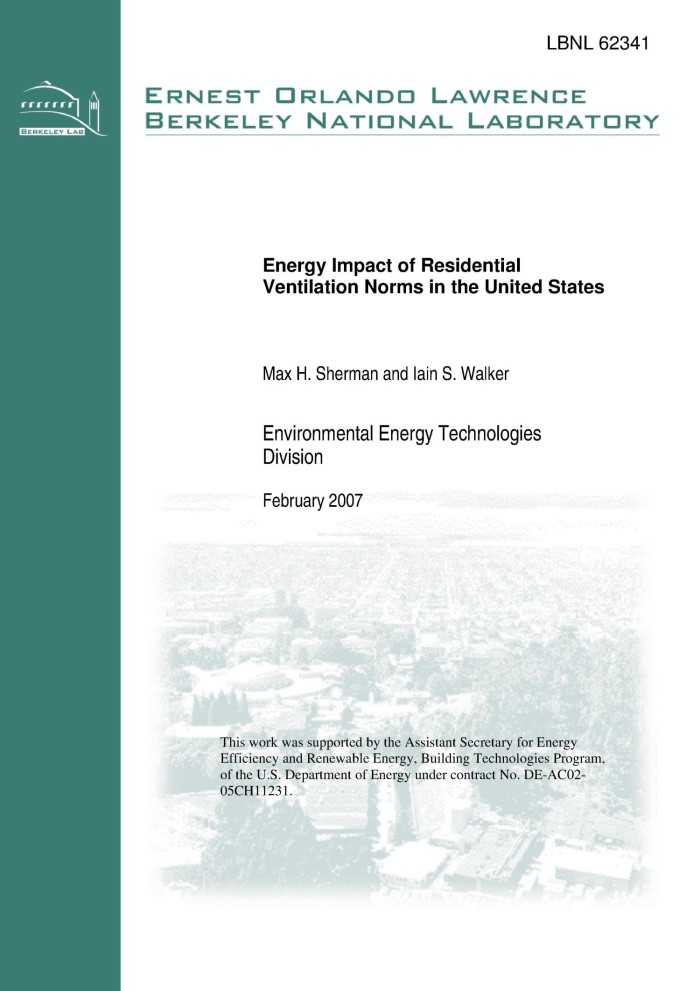 Energy Impact of Residential Ventilation Norms in the