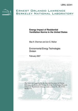 Primary view of object titled 'Energy Impact of Residential Ventilation Norms in the UnitedStates'.