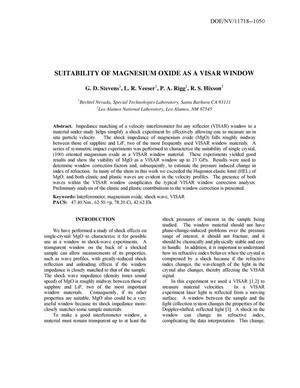 Primary view of object titled 'SUITABILITY OF MAGNESIUM OXIDE AS A VISAR WINDOW'.