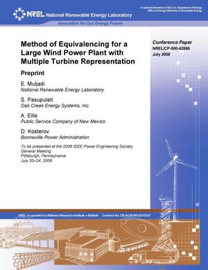 Primary view of object titled 'Method of Equivalencing for a Large Wind Power Plant with Multiple Turbine Representation: Preprint'.