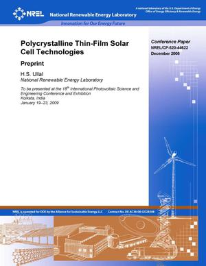 Primary view of object titled 'Polycrystalline Thin Film Solar Cell Technologies: Preprint'.