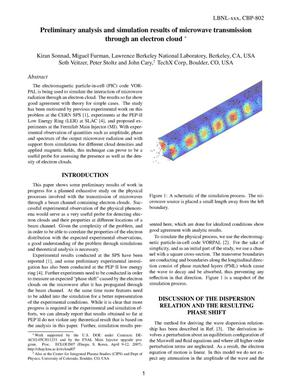 Primary view of object titled 'Preliminary Analysis and Simulation Results of Microwave Transmission Through an Electron Cloud'.