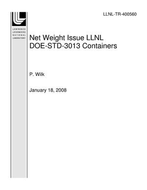 Primary view of object titled 'Net Weight Issue LLNL DOE-STD-3013 Containers'.